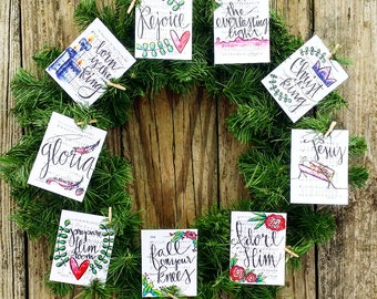 Christian Christmas Journaling Cards 3x4 Pocket Pages Letter Print Hymn Fine Art Hymnal Project Watercolor Sheet Music Life Lettering Carols