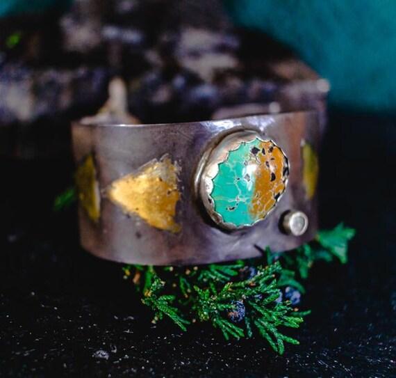 Cuff, Sterling Silver Bracelet, Keum Boo Cuff, Turquoise Cuff, Opal Cuff, Gold Gilded Silver, Gold Bracelet, Boho Bracelet