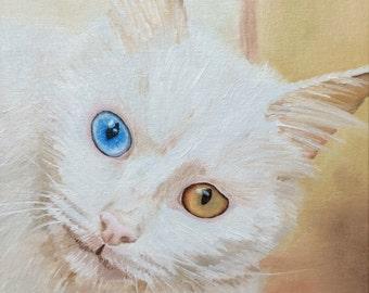 White cat wall art original oil painting gift