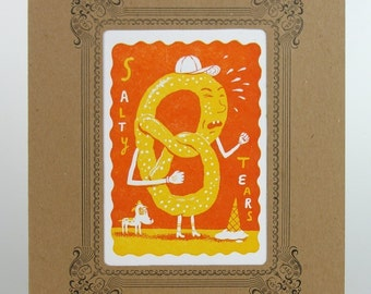Orange SALTY TEARS PRETZEL Carnival Treats Print in Kraft Vignette Hand Printed Letterpress