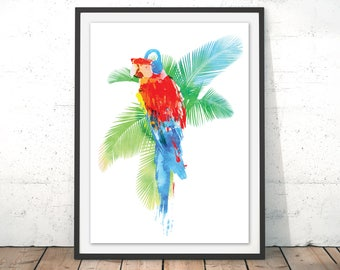 Parrot Art Print Parrot Wall Art Parrot Watercolour illustration Palm Tree Summer Wall Decor Party Print Bird of Paradise Music by Robert