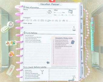 Family Vacation Planner Printable Letter Size Holiday Organizer Trip Advisor Packing Checklist Beige Printable PDF Inserts. Instant Download