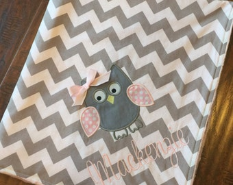 Personalized Baby Blanket- Owl Applique Blanket- Minky Baby Blanket- Chevron Minky Blanket- Nursery Bedding