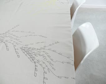 table cloth, light grey, linen and cotton, hand printed