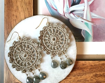 Hand crochet statement earrings, taupe crochet, labradorite semi-precious