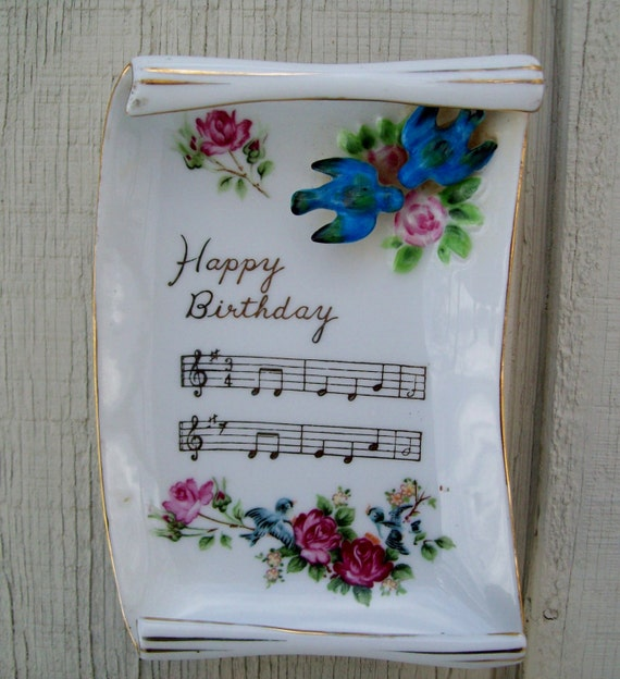 Vintage Porcelain Happy Birthday Music Notes Scroll Birds