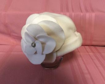 White Polar Fleece Woman's Winter Hat