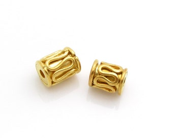2 Pcs, 5.5mm, 24K Gold Vermeil Bead
