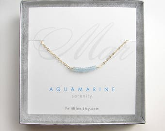 Aquamarine Choker Necklace ~ March Birthday ~ Genuine Aquamarine ~ Birthstone Necklace ~ Minimalist Jewelry ~ Gift for Her