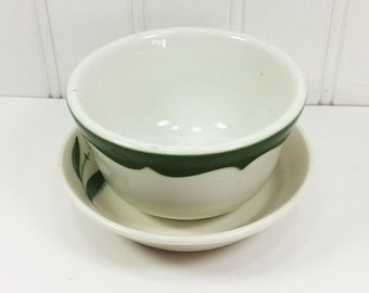 Green and White Bowls, Mismatched Restaurant Ware Homer Laughlin & Wm Neville China