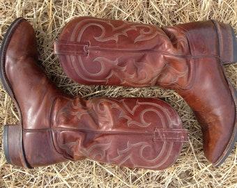 Tony Lama Cowboy Boots Vintage 1990's Brown Men's 11D