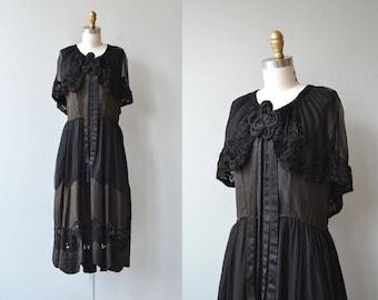 Legacy silk dress |  antique 1920s silk dress | black 20s dress