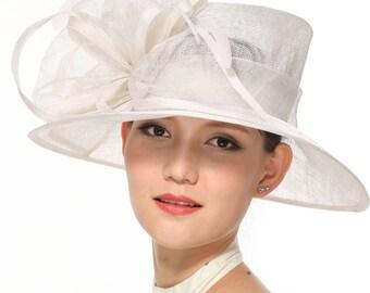 White Kentucky Derby Hat, Church Hat, Wedding Hat, Easter Hat, Tea Party Hat Wide Brim Woman's Sinamay Hat