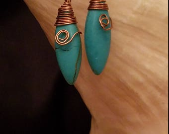 Copper Wrapped Turquoise Spear Earrings