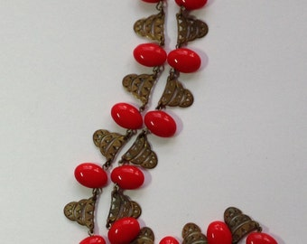 Vintage Art Deco Costume Red Bead Necklace