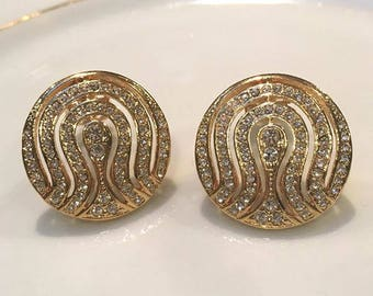 VINTAGE - round Crystal clip earrings
