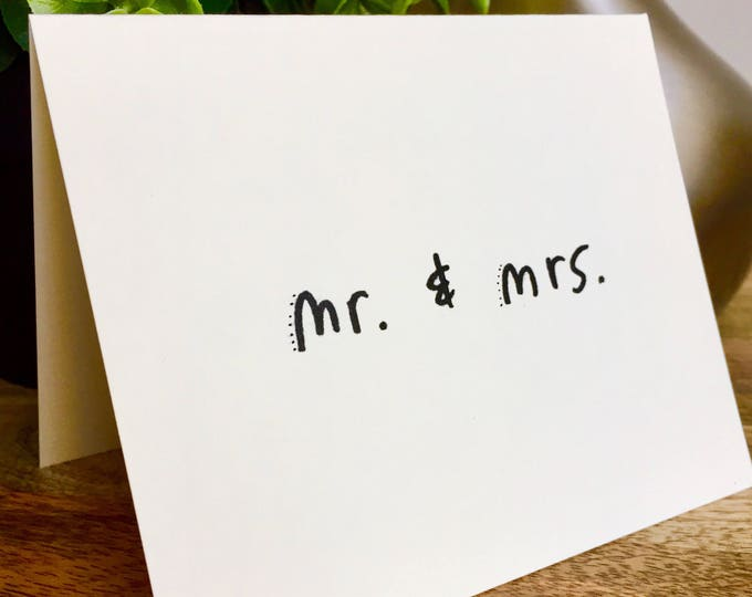 Mr. And Mrs. thank you card, wedding thank you, Hand designed pattern note card, thank you wedding cards, bridal thank you