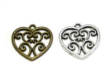 2 pc. Floral Vintage Heart Charm 22mm - Antique Gold or Antique Silver