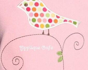 061 Bird on Branch Machine Embroidery Applique Design