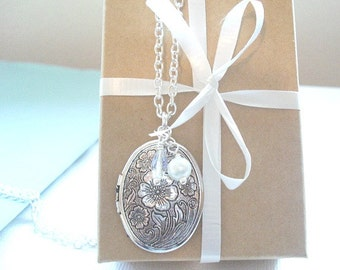 Silver Locket Necklace Gift Under 25 Oval Silver Locket Cherry Flower Blossom Locket Jewelry