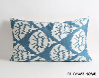 ikat pillow cover, blue white ikat pillow cover, accent pillow, 16x26 decorative throw pillow