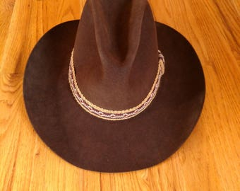 Vintage Stetson Chocolate 4X Beaver Western Style - Cowboy Hat, Woven Band, Size 7 1/4
