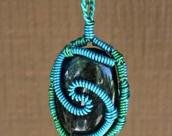 4.5in. Labradorite Wire Wrapped Pendant