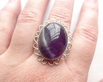 Infinity Border Amethyst Sterling Statement Ring Size 7