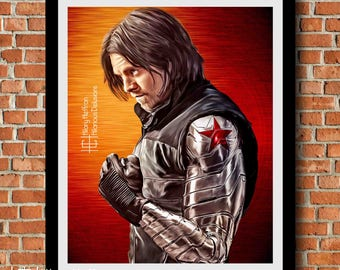 Bucky Barnes AKA Winter Soldier Digital Painting Print, Captain America