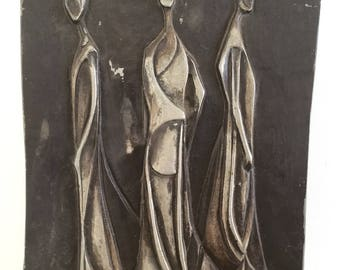 Vintage 1950s Mid Century Cast Aluminum Plaque Wall Sculpture  Three Gothic Women Brutalist Signed H Pulon 57