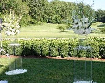 Clear Acrylic pillars (plithes)- available in many sizes, shapes and colors, custom sizing and styles available
