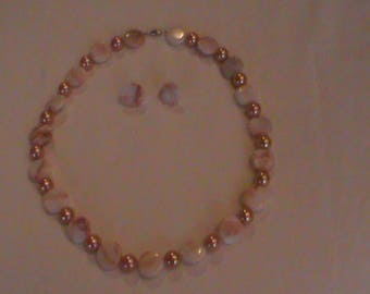 Cream and Peach Necklace and Earring set