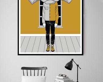 GEODUDE , Wall Art Prints, Modern Decor, Black and White Prints, Wall Decor, Wall Prints, Home Decor.