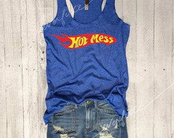 Hot Mess...Retro Graphic, Workout Tank, Workout Top, Yoga Tank,Yoga Top,Graphic tee,Yoga Vest,Yoga Tank, Funny Shirt, Vintage, 70s