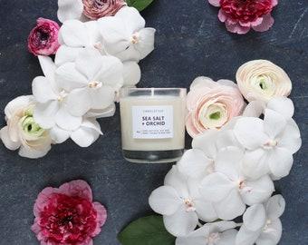 SEA SALT + ORCHID - 8 oz Soy Candle - Hand-Poured - Candlefolk