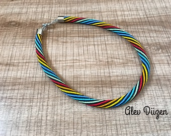 DISCOUNT - SALE - AN043 - Black Striped Colorful Summer/Crochet Necklace/Beaded Necklace - Handmade Beadwork Necklace - Colorful Necklace