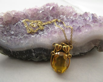 Vintage Art Deco Sweetheart Gold Yellow Citrine Necklace 9K?