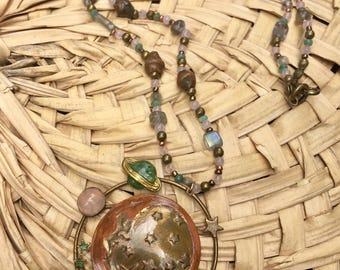 Bronze Celestial Beaded Necklace with Pink and Green Accents