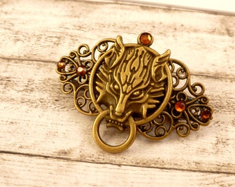 Small hairclip with wolf head door knocker man hair jewelry braid holder gift idea for her and him