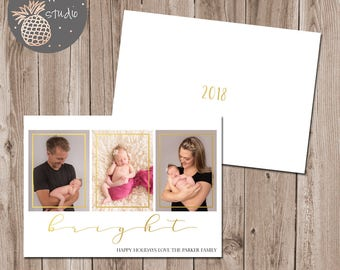 Bright Christmas Card, Holiday Photo Card, Merry Christmas Family Card