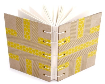 Yellow Striped Journal with Japanese paper tape - handmade by Ruth Bleakley - 160 Page Unlined Journal