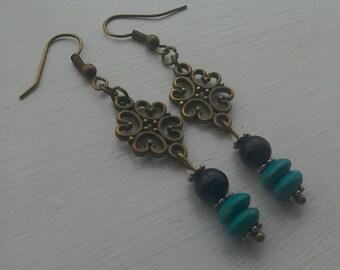 Bronze plated Goldstone chandelier earrings