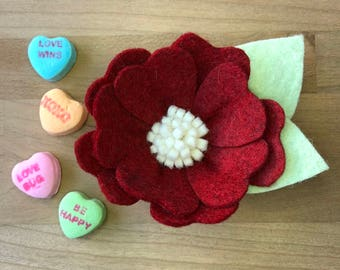 Candy Hearts Flower Crown - The Reds and White | Felt Flower Headband