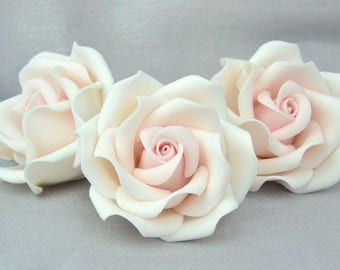 "blush pink  2"", set of 3, sugar paste, handmade, cake topper, wedding cake, edible, sugar flower"
