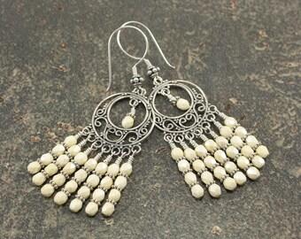 Off White Chandelier Earrings Sterling Silver Gypsy Earrings Off White Earrings Hippie Chic Jewelry Bohemian Earrings