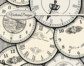 Large Vintage Clocks large handles printable paper craft art hobby crafting scrapbooking instant download digital collage sheet VD0679