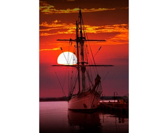 Sunset in the Harbor with a Tall Masted Schooner Sail Boat No.1033 A Fine Art Nautical Ship Seascape Photograph