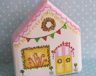 Hand Painted Love Boxes Christmas Village Sweet Shop Pink