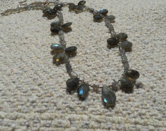 Faceted Labradorite and sterling necklace.