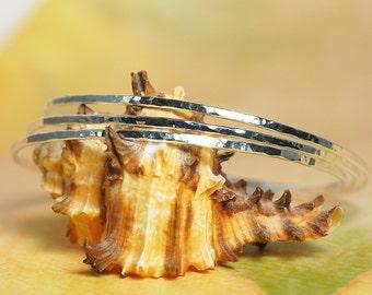 Sterling Silver Bangle Bracelets / Set of 3 Silver Hammered Bangles / Made to Order Bangles